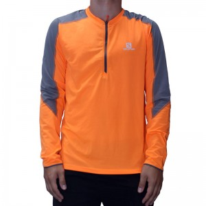 Koszulka Salomon Trail Runner LS Zip Tee Fluo Orange