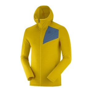 Bluza Salomon Outline FZ Hoodie Lemon Curry/Dark Denim